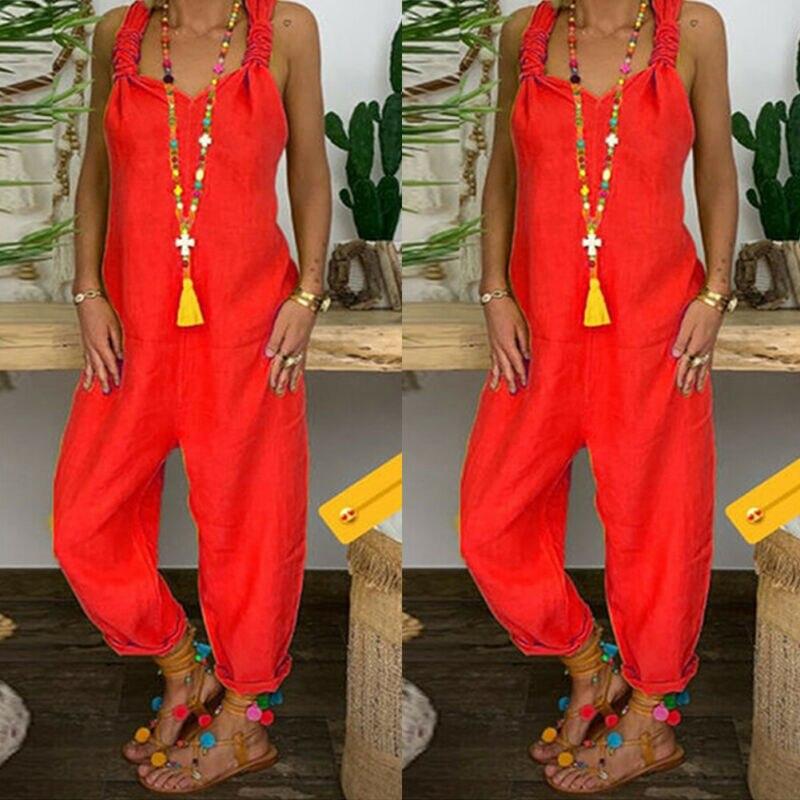 Women Summer Autumn Jumpsuit 2019 Solid Color Spaghetti Strap Casual Sleeveless Jumpsuit Loose Wide Leg Pants Plus Size Playsuit