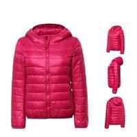 2018 mulheres ultra light para baixo inverno com capuz jaqueta de pato para baixo casacos fino casaco de manga longa com zíper 6 cores casacos bolsos H 291