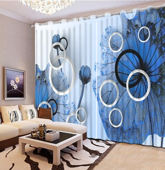Modern 3D Curtain Cool blue Plane Luxury Window Curtains 3D Blactout For Living room bedroom Drapes Hotel Cortinas De Sale