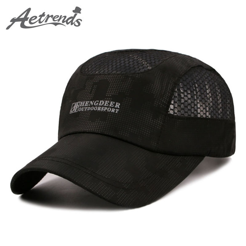 [AETRENDS] 2017 Summer Cap Men Quick Dry Sun Hat chapeu Casual Mesh Baseball Caps Z-5149 35colors silver gold soild india scarf cap warmer ear caps yoga hedging headwrap men and women beanies multicolor fold hat 1pc