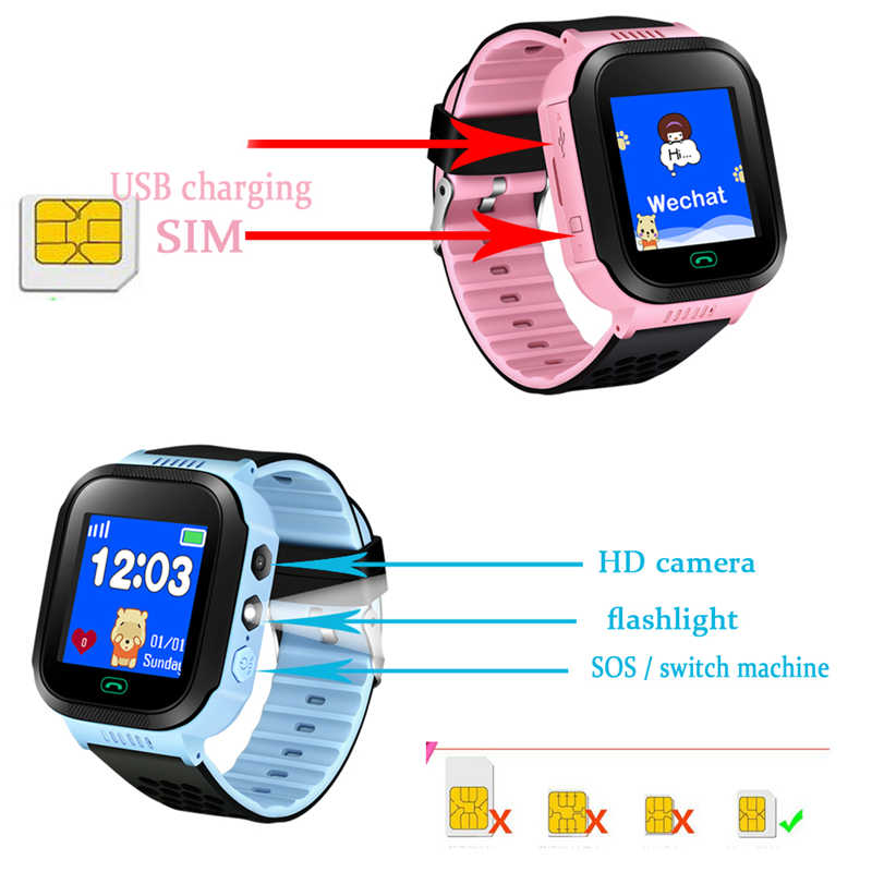 2018 new listing 1.44 inch color touch screen GPS mobile phone monitoring positioning SOS security call children smart watch