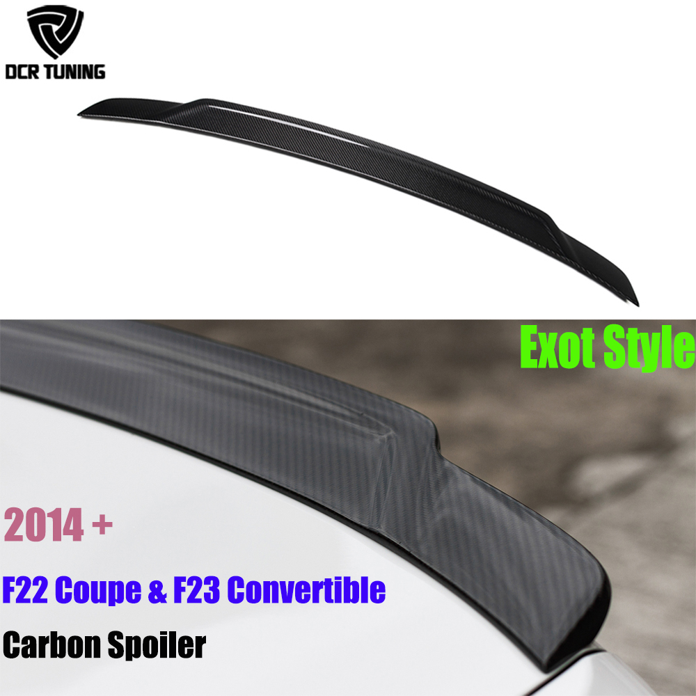 For BMW F22 F23 Spoiler 2 Series F22 Coupe & F23 Convertible & F87 M2 Carbon Fiber Wings Exot Style 2014-UP 218i 220i 228i M235i 2 series carbon fiber car front bumper lip spoiler for bmw f22 m sport coupe only 14 17 convertible 220i 230i 235i 228i p style