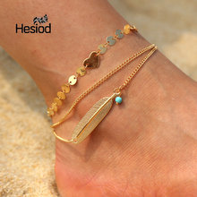 Hesiod New Classic Gold Silver Leaf Heart Anklet Barefoot Sandals Beach Pool Wear Toe Ring Anklet for Women Men(China)