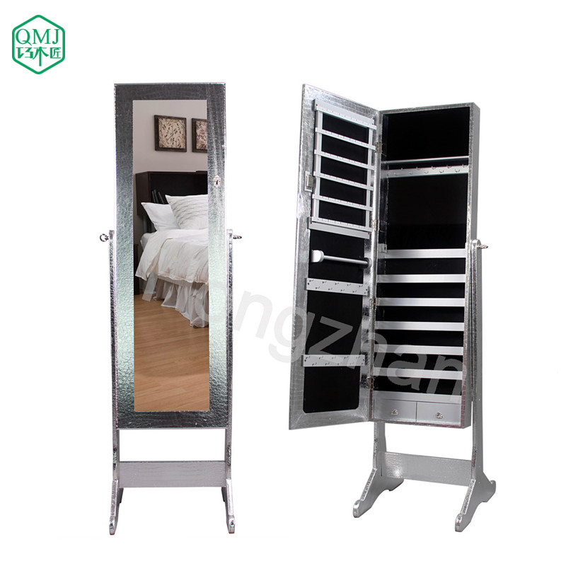 New Luxury Large Wooden Standing Jewelry Armoire Mirrored Bedroom Vanity Furniture Storage For Makeup Organizer Cabinet In Living Room Cabinets From