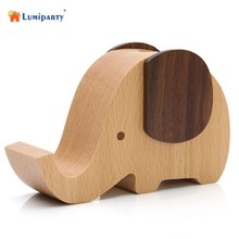 LumiParty 2 In 1 Universal Wooden Phone Stand Holder Cute Elephant Wind Up Music Box Home Desktop Decor 9.5*8*4cm -15