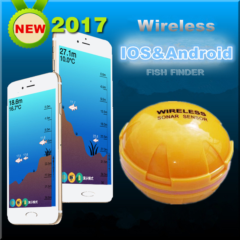 Underwater Wireless Fish Finder iOS Android Phone Bluetooth Smart Visual HD Sonar Measuring Fishfinder Depth Water Temperature portable fish finder bluetooth wireless echo sounder underwater bluetooth sea lake smart hd sonar sensor depth