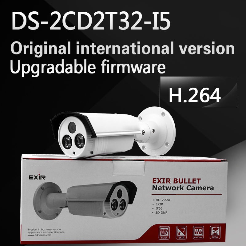 In stock free shipping english version ,3MP EXIR Bullet Camera w/POE,3D DNR Network IP camera DS-2CD2T32-I5