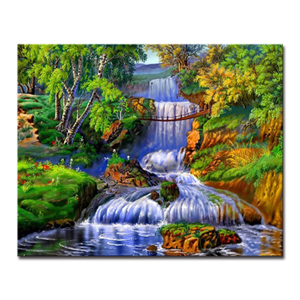 Framework Oil Painting By Numbers DIY Kits Coloring The Woods ...