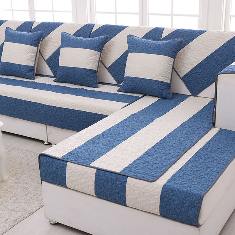 US $13.63 41% OFF|1 Piece Modern Striped Print Linen Cotton Sofa Cover Blue  Sofa Slipcover Resistant Seat Couch Cover For Living Room Decor-in Sofa ...