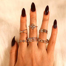 8 pieces / set of rings for women simple design rhinestone ring set rhinestone wave ring geometric ring set ornament gift charming fuax gem rhinestone geometric barrette set for women