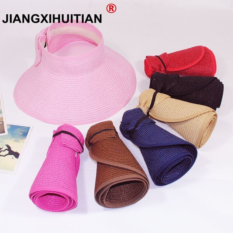 Spring Summer straw hat Visors Cap Foldable Wide Large Brim Sun Hat Beach Hats for Women Straw Hat Wholesale Chapeau