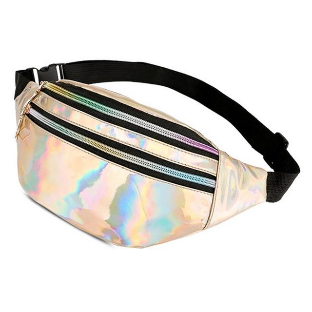 NIBESSER 2018 Women Fanny Pack Steam Punk Leg Bag Reflective Laser Shoulder Bag Women's Belt Waist Bag Pochete Women Fanny Pack