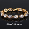 Famosa Marca de Diamante Jóias Gold Filled Pear Cut Cubic Zirconia Simulado Diamante Nupcial Pulseira de Casamento Para As Mulheres CB154