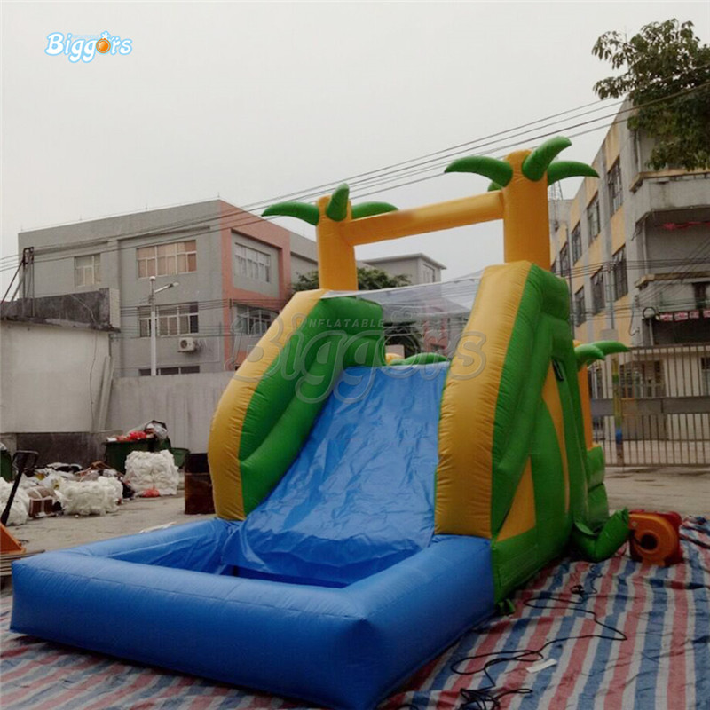Tropical Backyard Commercial Inflatable Water Slide Pool With Climbing Wall For Sale inflatable biggors combo slide and pool outdoor inflatable pool slide for kids playing