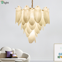 Art Deco Plate Gold Metal Led Pendant Lights Glass Leaves Lustre Luminaria Hanging Lamp Led Indoor Lighting Fixtures Lamparas