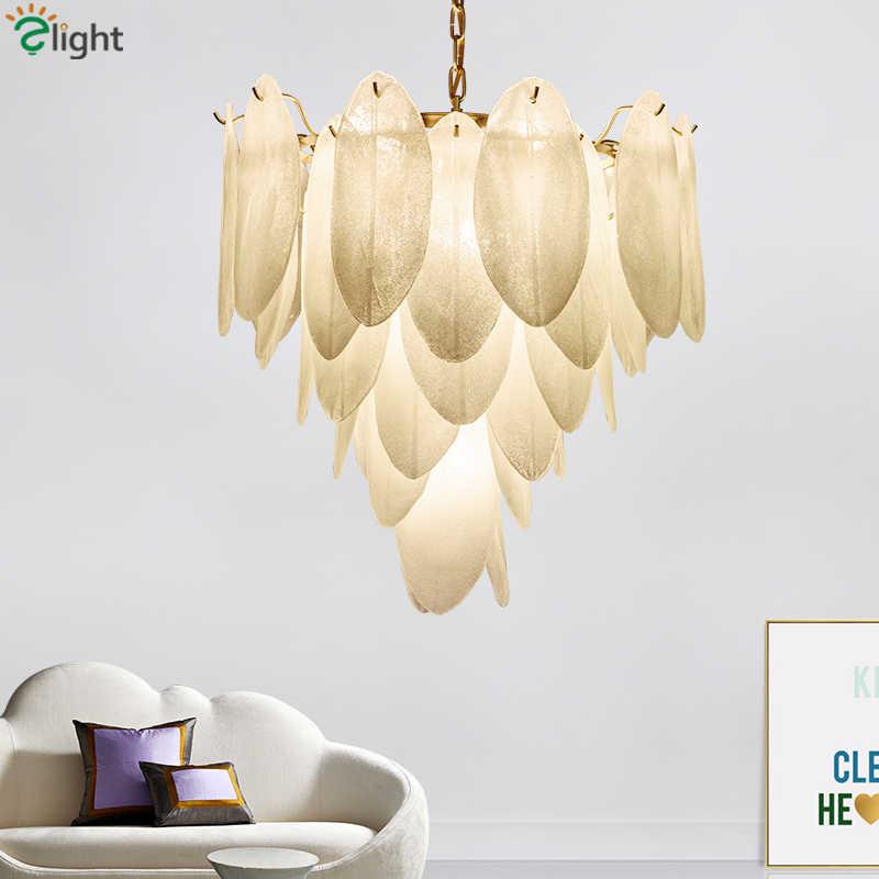 W stylu Art Deco płyta złoty Metal wisiorek Led światła szkła liście Lustre Luminaria lampa wisząca Led oświetlenie wewnętrzne Lamparas