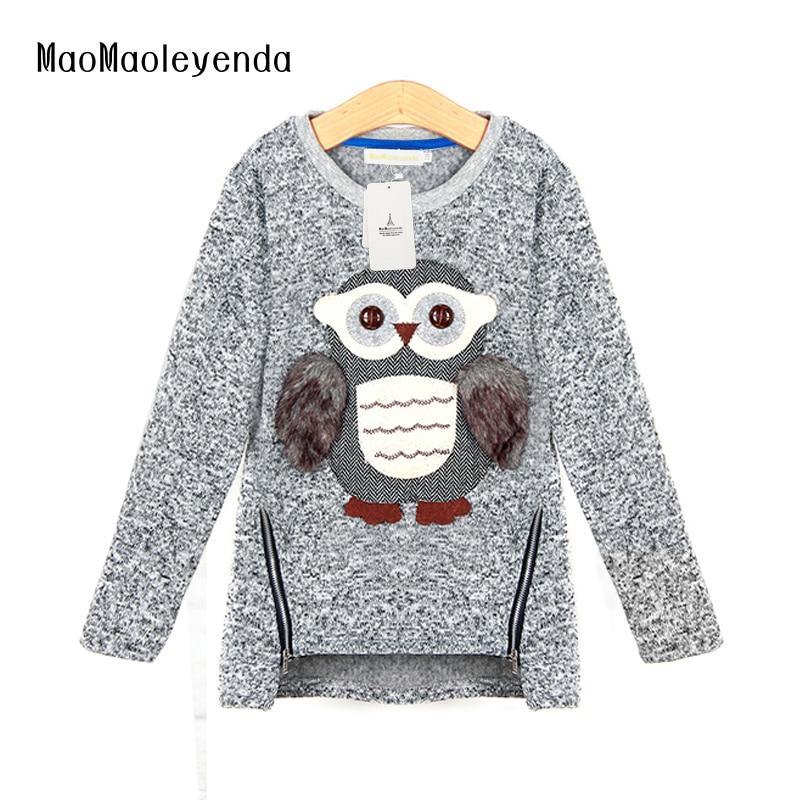2018 शरद ऋतु नई फैशन लड़कियों स्वेटर बच्चों ऊन लाइनर जिपर स्वेटर कार्टून प्यारा उल्लू आकस्मिक कपास लड़कियों स्वेटर