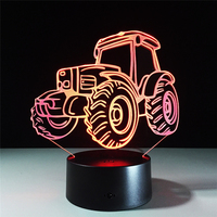 Novelty Tractor Lamps 3D Visual Bluetooth Music Night Lights For Kid Touch USB 7 Color Table