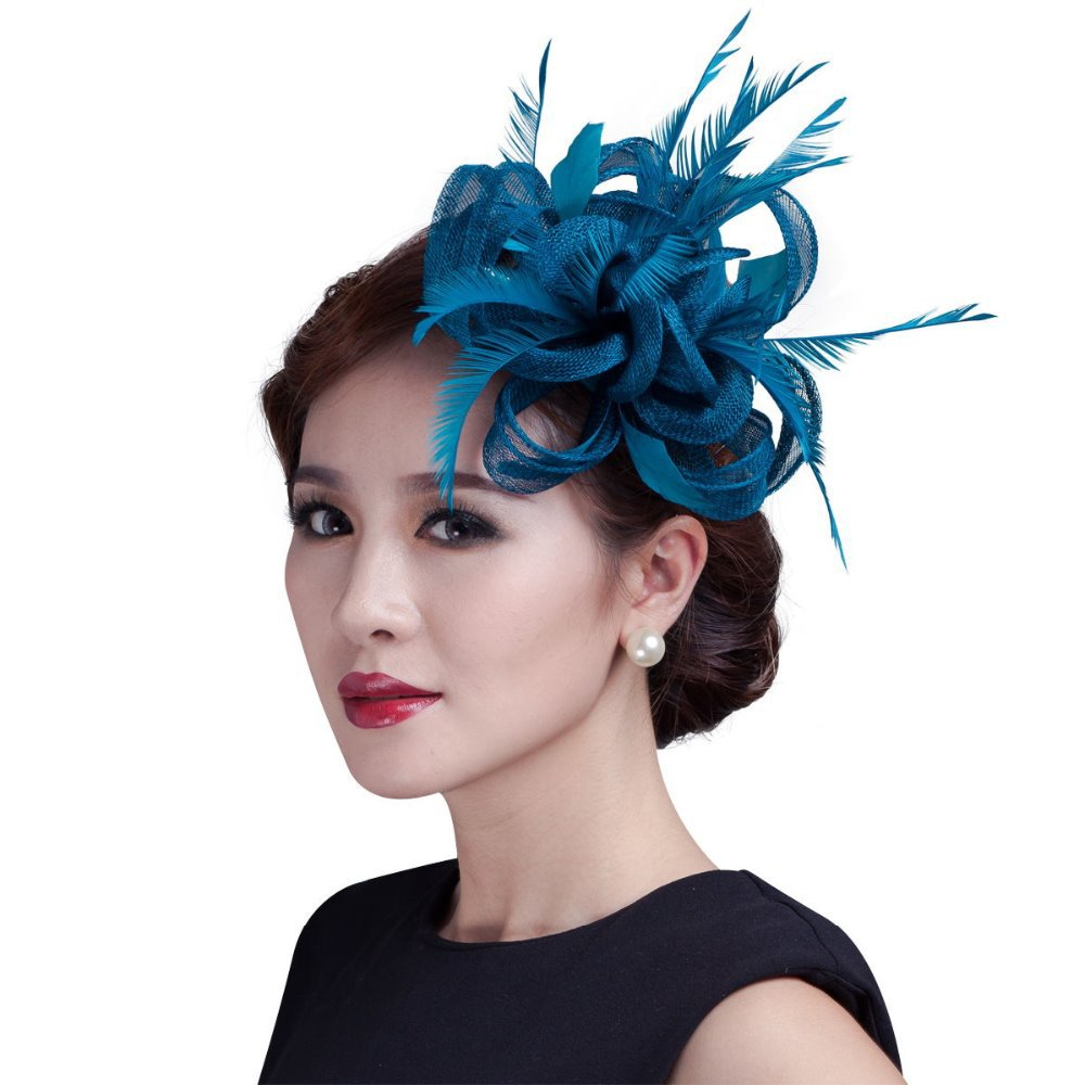women teal loop Sinamay Hair Fascinators with Feathers hair clip fascinator  headband for races church wedding party-in Women s Hair Accessories from  Apparel ... 88d1a6b0a03