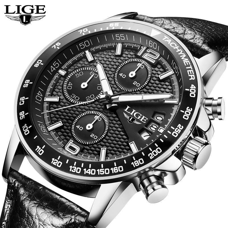 LIGE Mens Watches Top Brand Luxury Men Stopwatch Sport Quartz Watch Man Fashion Business leather Clock relogio masculino+box lige mens watches top brand luxury man fashion business quartz watch men sport full steel waterproof clock erkek kol saati box