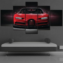 Canvas Wall Art Pictures Home Decor Living Room 5 Piece Bugatti Chiron Red Hypercar Painting HD Printing Type Poster Framework