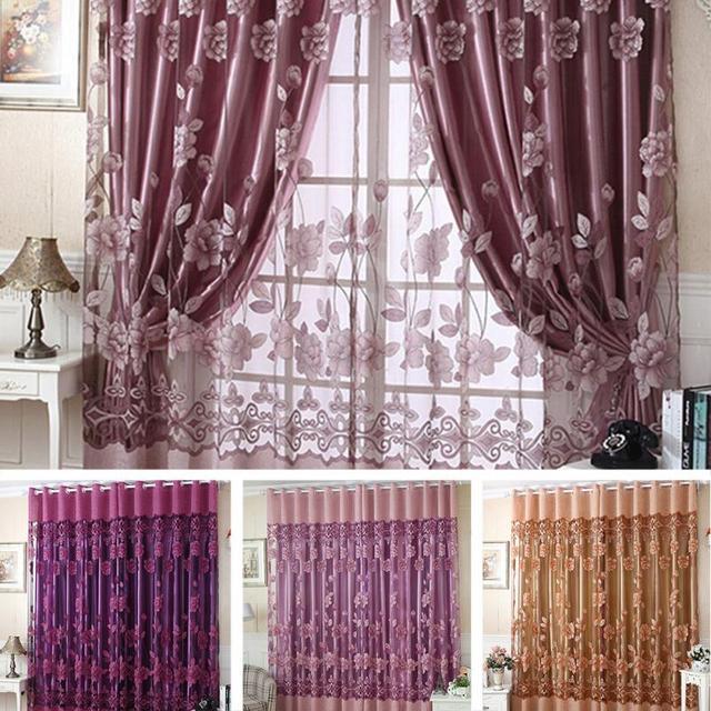 2.5m* 1cm Luxury Flower Tulle Door Window Curtain Drape Panel Sheer Scarf Decor Valances