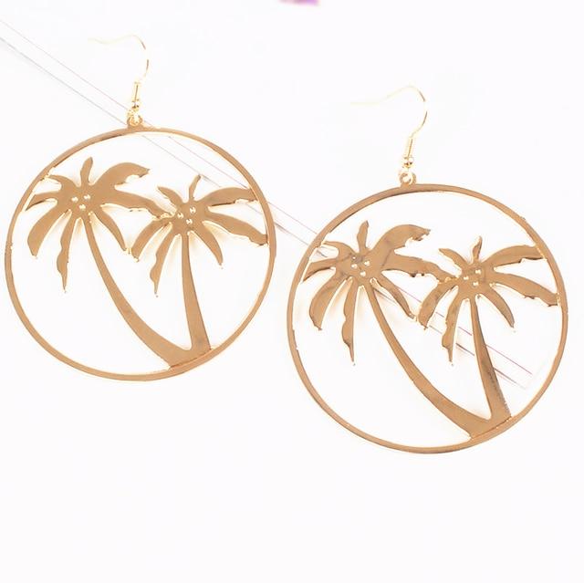 Free Shipping 6pcs Lot Fashion Jewelry Metal Coconut Palm Tree Earrings For Women
