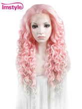 Imstyle Curly Pink Mixed Color 26 inches synthetic lace front wigs for girls cosplay