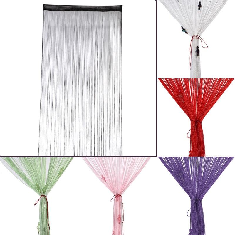 1 PC 3 Bead Curtain Crystal Divider Decorative String Curtain Panel Spangle Fringe Door Window Room Decor