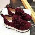 34-39 Комфорт обувь дышащий цветочные украшения 2016 моды личности овец замши Женщин Повседневная Обувь