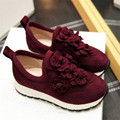 34-39 Comfort shoes breathable flower decoration 2016 fashion personality sheep suede Women Casual Shoes