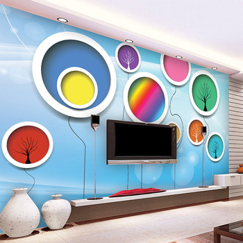 Modern Simple Colorful Balloon Circle Photo Mural Wallpaper Abstract Art Interior Decor Wall Covering Living Room Papel Mural 3D interior design