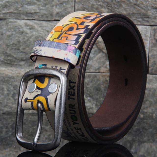 Diseñadores de Lujo de La Cintura Femenina Correa Marca Graffiti Punk Cinturones de Cuero Genuino Mujeres de Piel de Vaca de Alta Calidad para Los Pantalones Vaqueros de Hip Hop