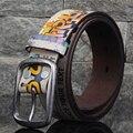 Os designers De Luxo Graffiti Punk Cintos Tira Da Cintura Marca de Couro Genuíno do Sexo Feminino Das Mulheres de Alta Qualidade Cowskin para Calças Jeans Hip Hop