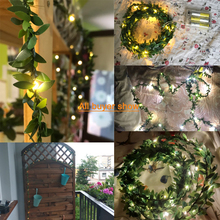IP65 Ivy Leaf Outdoor Garland Fairy Light 10M 5M 3M 2M Copper Flexible String Led Lamp Warm White Yard Fence Decoration Lighting