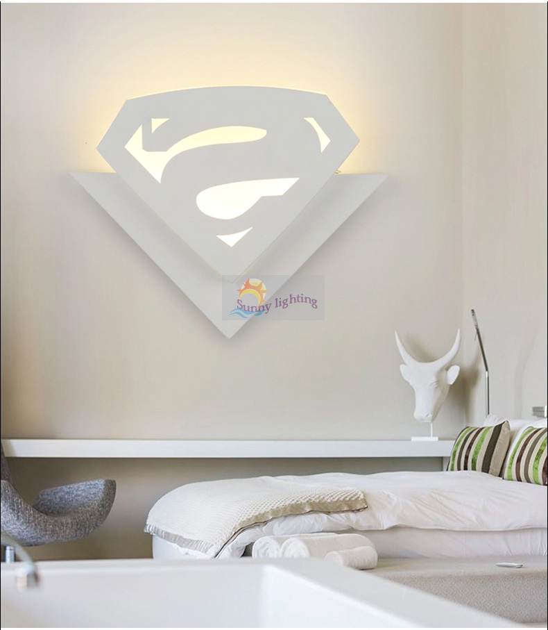 Children room 8w led wall lamp abajur cartoon superman acryl wall children room 8w led wall lamp abajur cartoon superman acryl wall lights bedside kids room lamp modern led indoor lighting in led indoor wall lamps from aloadofball Image collections