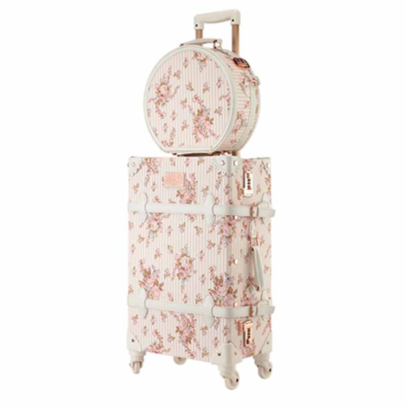 LeTrend Retro 26 inch Spinner Rolling Luggage Set Cute pink Travel Bag Trolley Women Suitcase Wheels