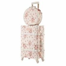 LeTrend Ретро 26 дюймов Спиннер чемодан на колёсиках набор милый розовый дорожная сумка тележка для Женщин Чемодан Колеса Винтаж кабина багажник
