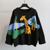 2018 Autumn Winter Korean Version O neck Giraffe Jacquard Sweater Female Student Knit Jacket Basic Sweaters Women Streetwear