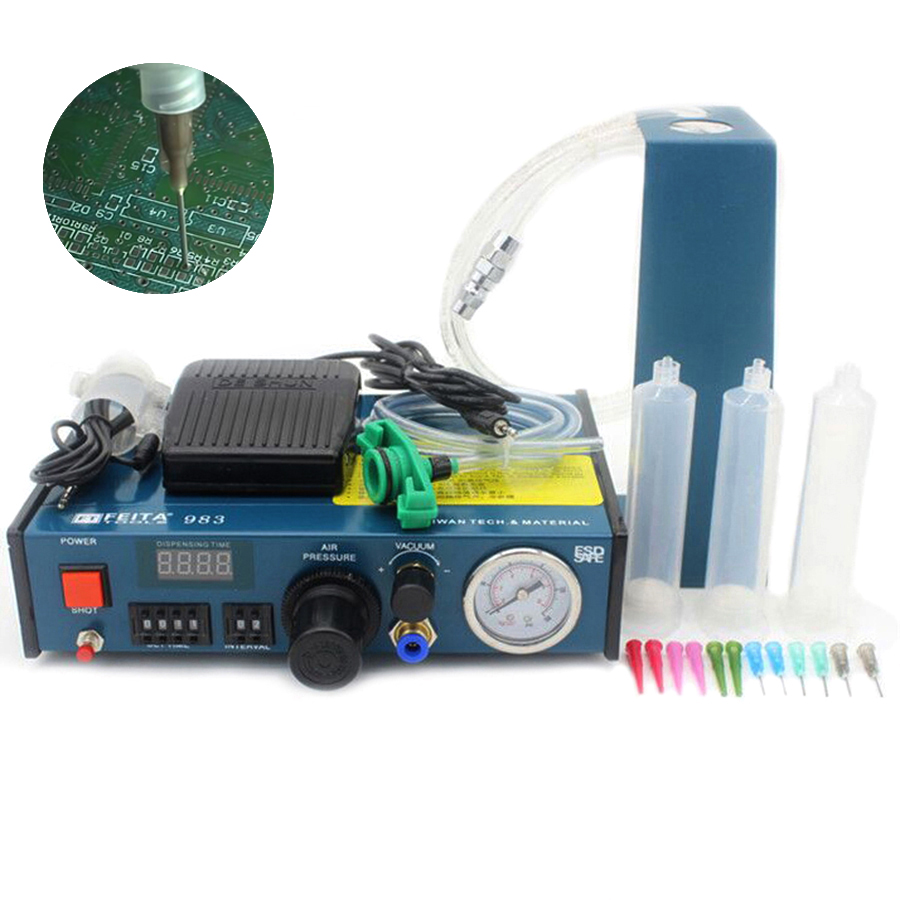 FEITA FT-983 Liquid Anaerobic Adhesive Glue Dispenser Automatic Fluid Syringe Dropper Dispensing Machine with Foot Pedal high quality ft 982 automatic glue dispenser dispensing machine with glue tips