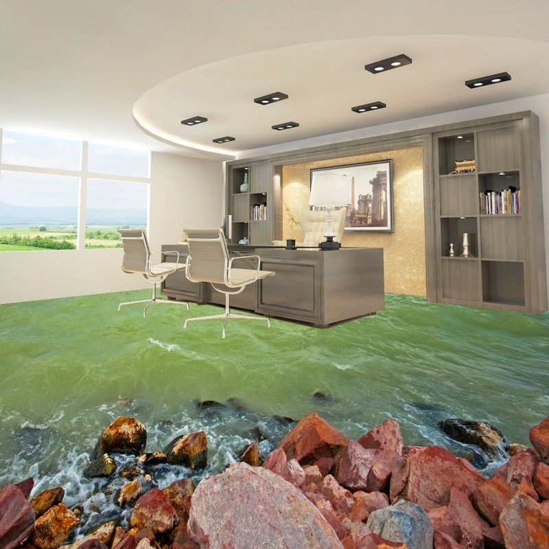 Free Shipping Spray stone sea view 3D living room bathroom floor non-slip self-adhesive mall office bedroom flooring mural free shipping marble texture parquet flooring 3d floor home decoration self adhesive mural baby room bedroom wallpaper mural