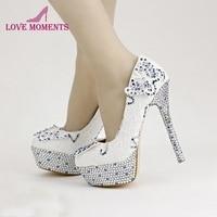 White Lace Bridal Dress Shoes Blue Rhinestone Round Toe Wedding Shoes Platforms Stilettos Anniversary Event Party Prom Pumps