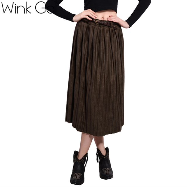 35427ab68c Wink Gal European Style Long Leather Skirt Pleated Skirt Suede Army Green  Women Bottoms W1907