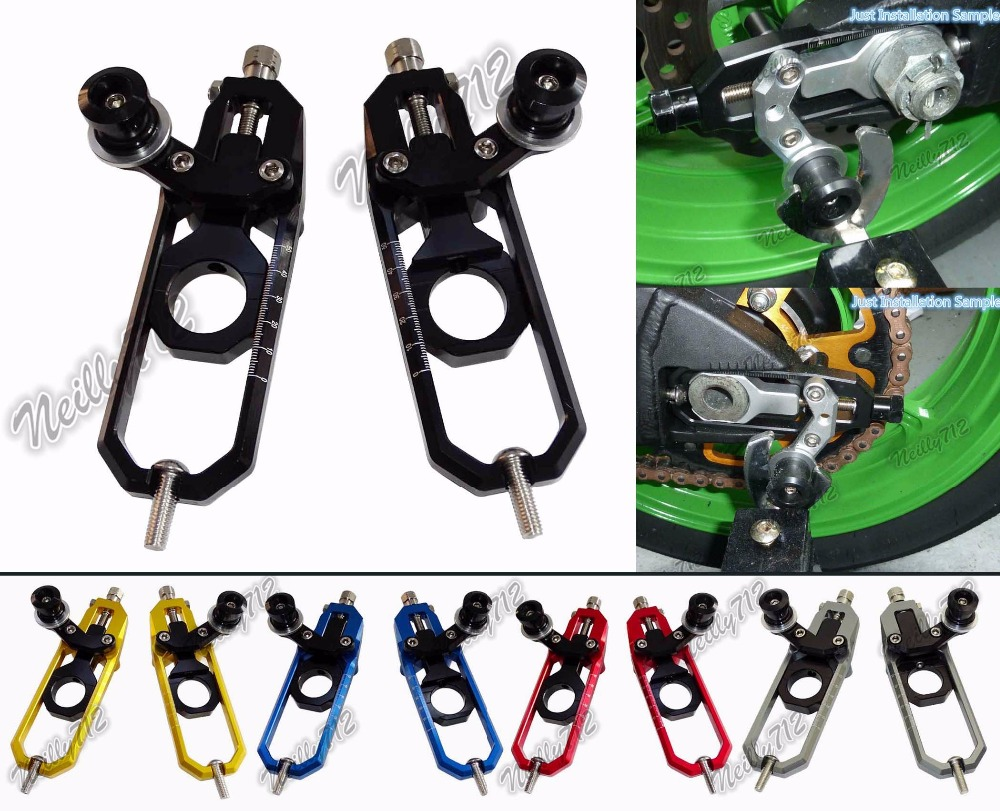 Motorcycle Chain Adjusters with Spool Tensioners Catena For Suzuki GSXR600 GSXR750 GSXR 600 750 2006 2007 2008 2009 2010 aftermarket free shipping motorcycle parts eliminator tidy tail for 2006 2007 2008 fz6 fazer 2007 2008b lack