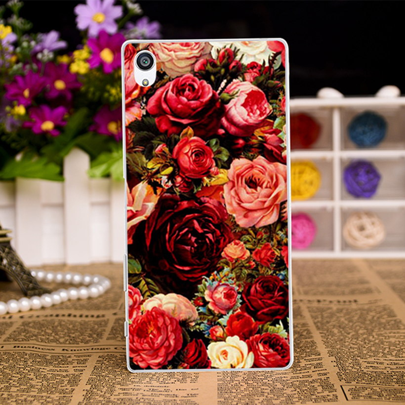 Hard Plastic Soft TPU Silicon Phone Cases For SONY Xperia XA F3111 F3112 F3113 F3115 5'' Cover Beautiful Flowers Red Rose Shell