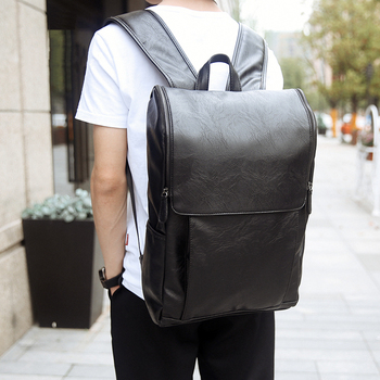 WEIXIER PU Leather 2019 Fashion Men Backpack Male  Casual Style New Brand Large Capacity Stundet School Bag