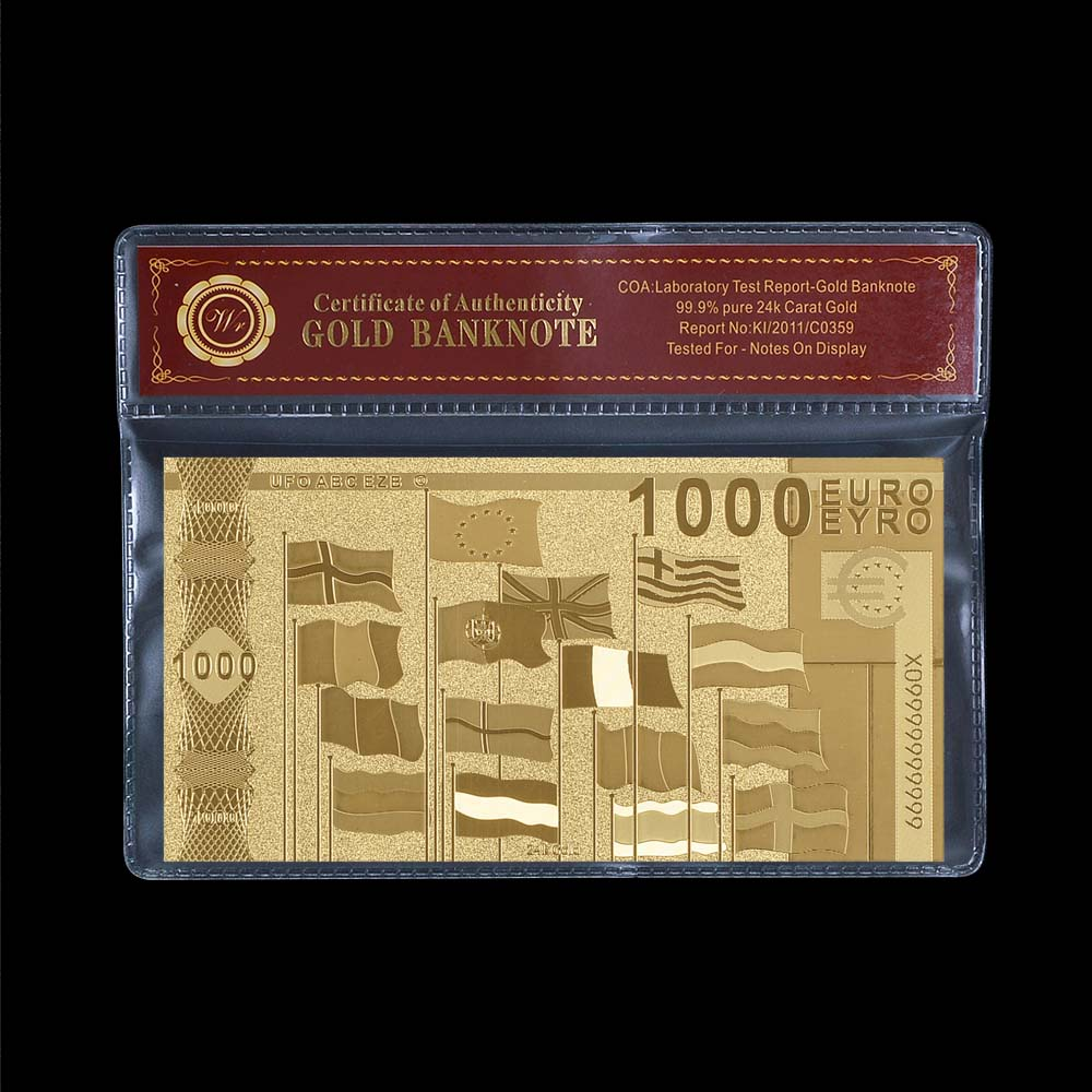 Home Decoration Gold Leaf Money Carved <font><b>1000</b></font> <font><b>Euro</b></font> Gold <font><b>Banknote</b></font> COA PACK image