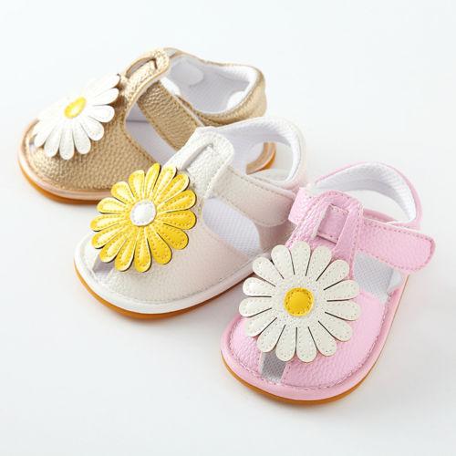 Princess Baby Infant Girl Soft Sole Crib Toddler Summer Anti-slip Shoes Daisy Floral Prewalker