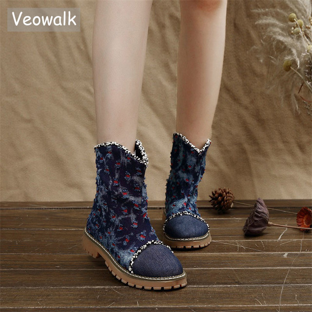 f92d425f4978 Veowalk Women Distressed Denim Blue Ankle Boots Camouflage Canvas Slip On Ladies  Short Flat Booties Woman Comfort Jeans Shoes