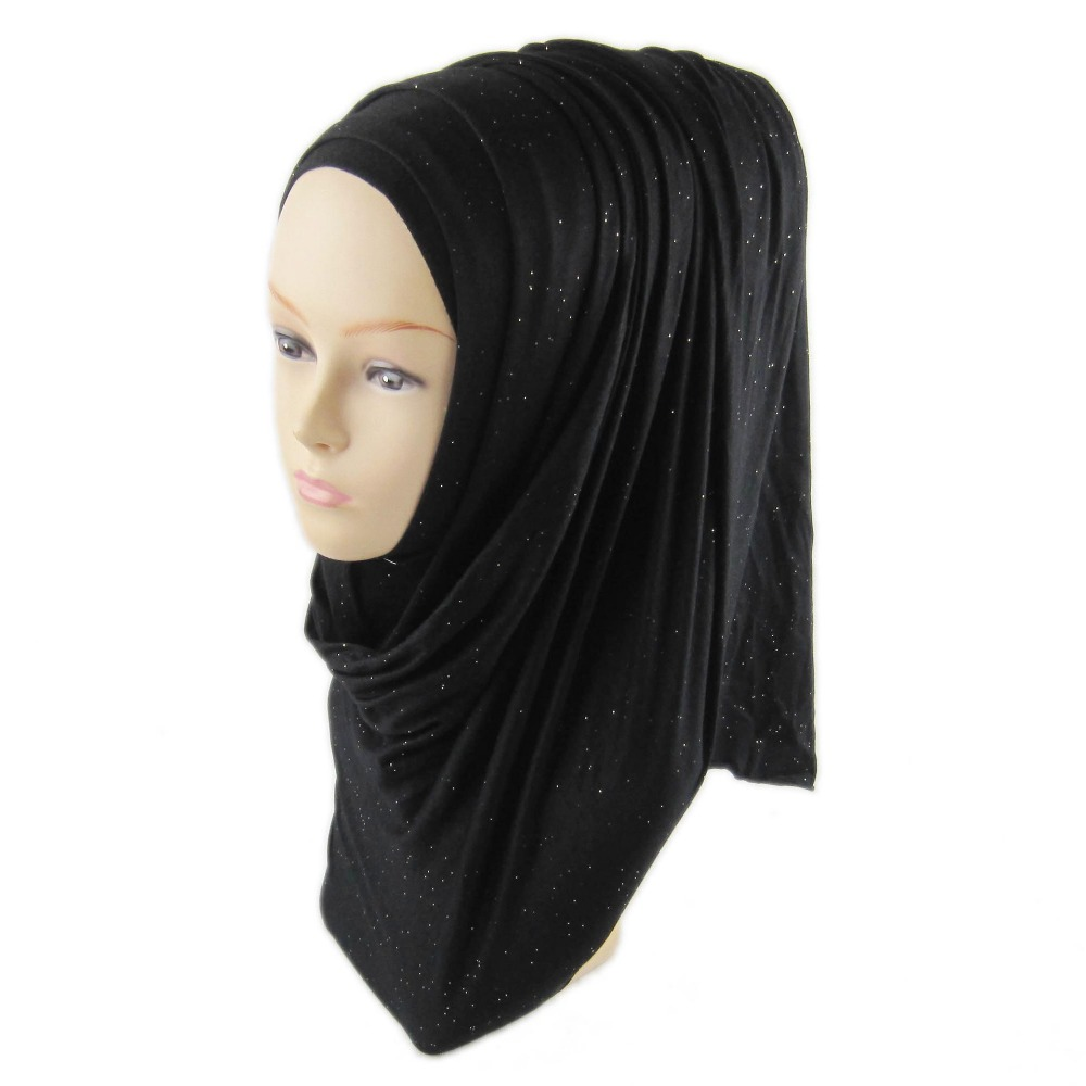 H1264 Soft modal elastic jersey long scarf with glitters shimmer head scarf wrap fast delivery